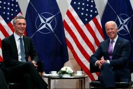 Then-US Vice President Joe Biden meets NATO Secretary General Jens Stoltenberg in 2015 [File: Michaela Rehle/Reuters]