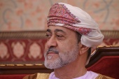 Oman's Sultan Haitham bin Tariq at al-Alam palace in Muscat. [File: Andrew Caballero-Reynolds/Pool via Reuters]