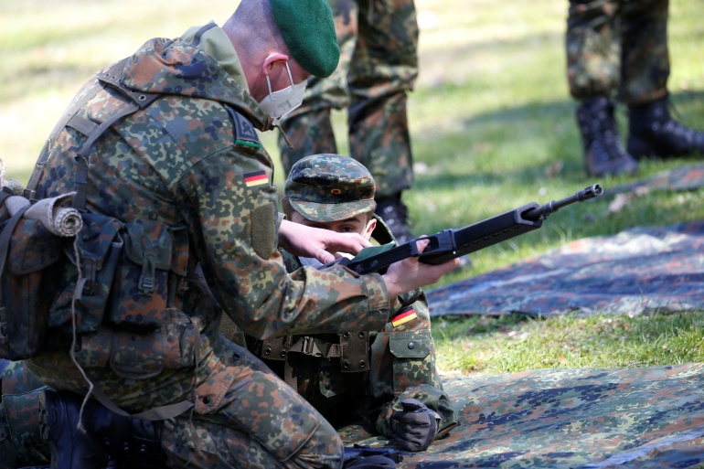 The soldiers were in Lithuania as part of NATO's Enhanced Forward Presence mission providing protection to Lithuania, Latvia and Estonia by deterring Russia [File: Michele Tantussi/Reuters]
