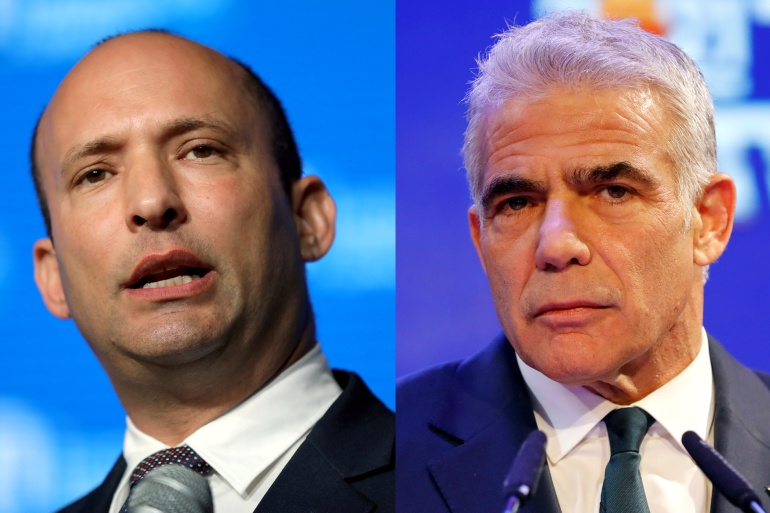 Under the coalition agreement, Naftali Bennett (left) and Yair Lapid (right) will rotate the position of prime minister [Ammar Awad/Amir Cohen/Reuters]