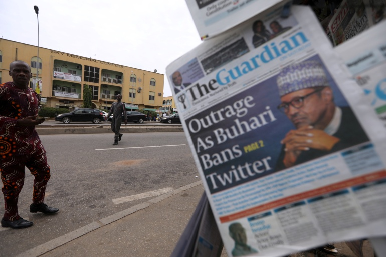 The Twitter suspension came two days after the social media giant deleted a tweet from President Buhari's account for violating its rules [Afolabi Sotunde/Reuters]