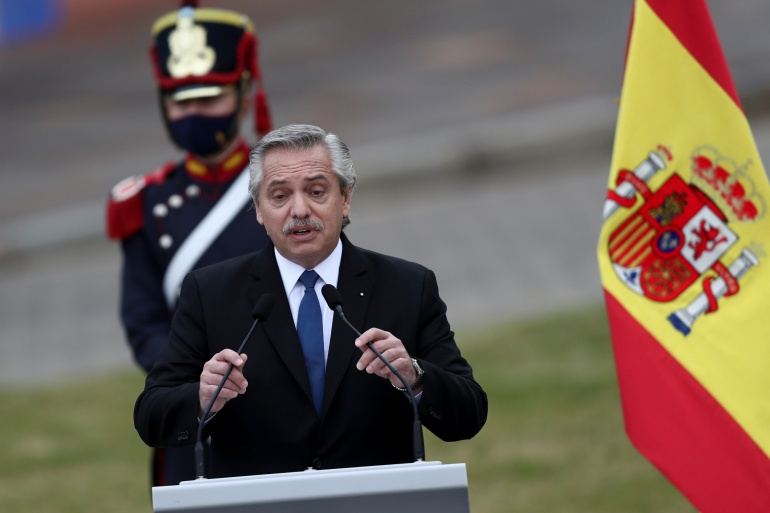 Argentina's President Alberto Fernandez made the comments during a visit from Spain's Prime Minister Pedro Sanchez [File: Agustin Marcarian/Reuters]