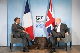The dispute concerns post-Brexit trading arrangements in Northern Ireland [Stefan Rousseau/Reuters]