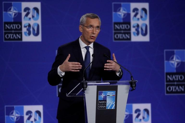 Sekretaris Jenderal NATO Jens Stoltenberg mengadakan konferensi pers selama KTT NATO di markas Aliansi, di Brussels, Belgia, 14 Juni 2021 Olivier Hoslet/Pool via REUTERS