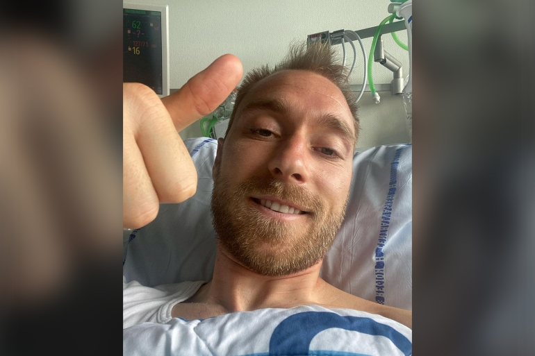 Eriksen He issued the thank-you message for all the support he has received since the incident on Saturday [Danish Football Association via Reuters]