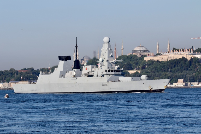 The papers included one set of documents that discussed the potential Russian reaction to HMS Defender's travel through Ukrainian waters off the Crimea coast on Wednesday [Yoruk Isik/Reuters]