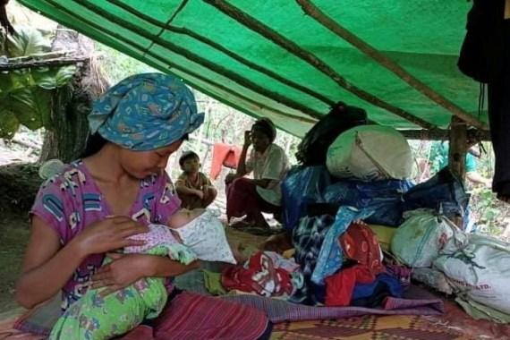 Seorang wanita terlantar akibat pertempuran di Myanmar timur memberi makan bayi di sebuah kamp hutan di Negara Bagian Kayah File Reuters