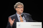 Bill Gates has said the plant will perform better, be safer and cost less than traditional nuclear power [File: Ludovic Marin/the Associated Press]