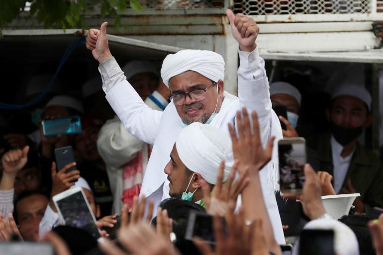 Rizieq Shihab pemimpin Front Pembela Islam FPI terlarang File Achmad Ibrahim/ AP