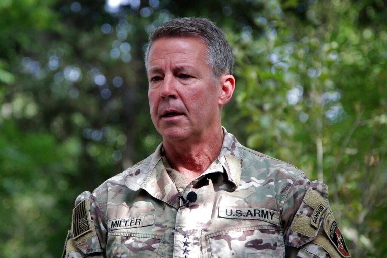 Jenderal Angkatan Darat Amerika Serikat Austin Miller memberi tahu wartawan di Kabul, Afghanistan bahwa negara itu berisiko mengalami perang saudara Ahmad Seir/AP Photo