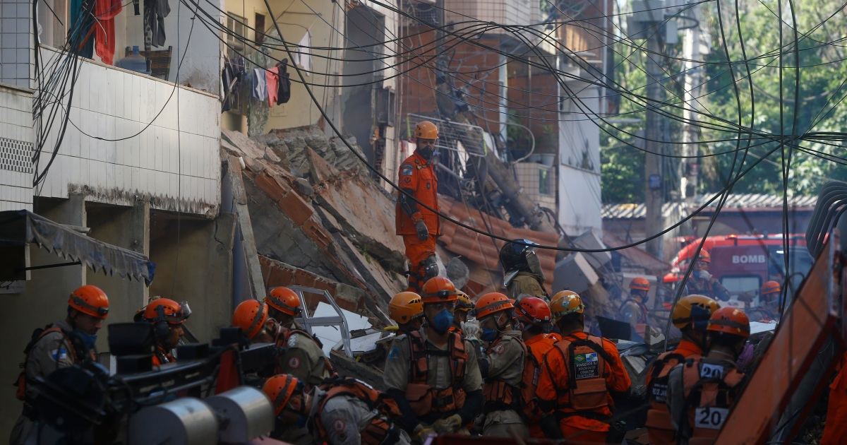 Toddler and man die as building collapses in Rio de Janeiro