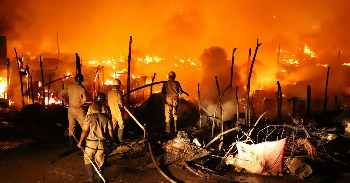 India: Fire rips through Rohingya camp, leaving hundreds homeless