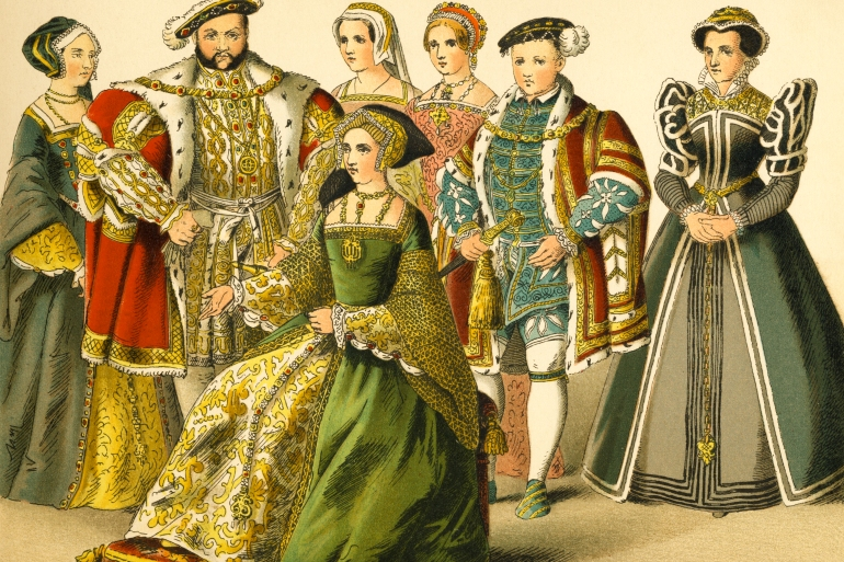 This illustration depicts King Henry VIII standing with members of his court. From left to right are Queen Anne Boleyn, Henry VIII, Queen Jane Seymour, Queen Catharine Parr, Princess Elizabeth, Edward VI, and Queen Mary Tudor. Illustrated and painted by Albert Kretschmer (1825-1891), it was published in an 1882 collection of illustrated costumes of the world [Getty Images]