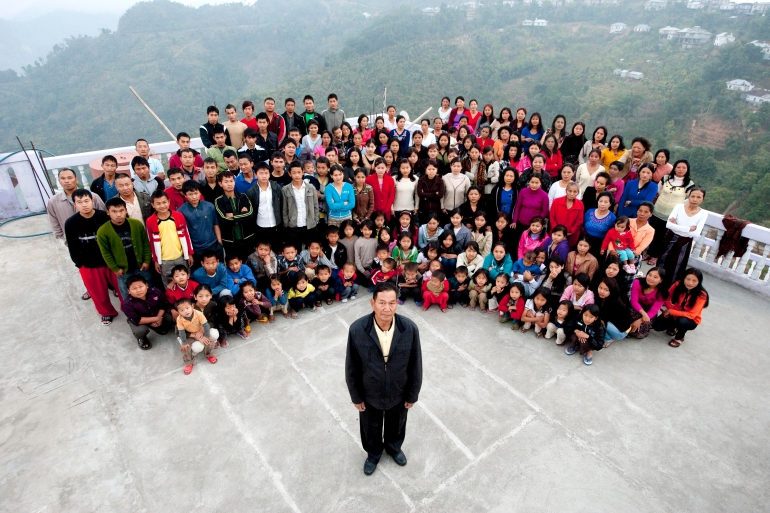 A photograph of the Chana family on January 30, 2011, in Baktawang, Mizoram, India [File: Richard Grange/Barcroft India/Getty Images]