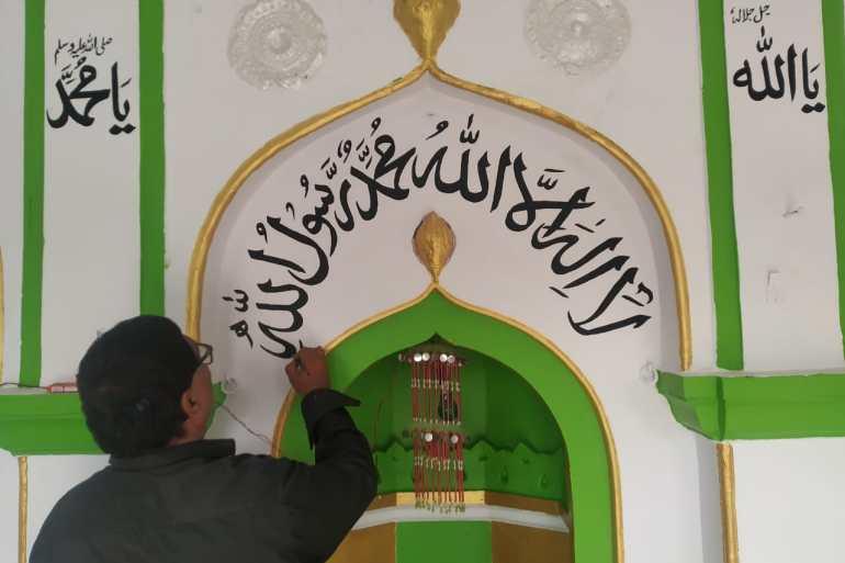 Anil Kumar Chowhan working at a mosque [Courtesy of Anil Kumar Chowhan]