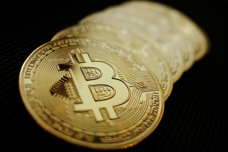 Bitcoin rose as much as 5.4 percent to reach $46,245 during New York trading hours [File: Edgar Su/Illustration/Reuters]