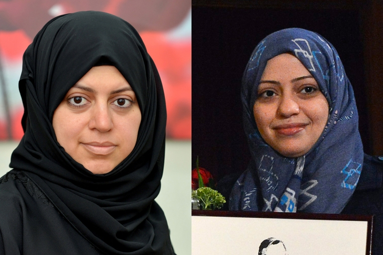 Nassima al-Sadah, left, and Samar Badawi were held in detention for nearly three years [AFP & EPA]