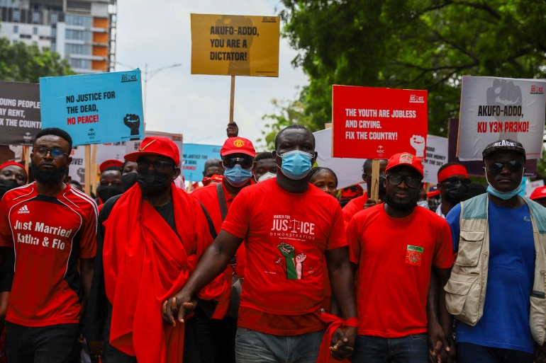 Members of the opposition National Democratic Congress (NDC) hold antigovernment protests in the streets of Accra, Ghana, on Tuesday [Nipah Dennis/AFP]