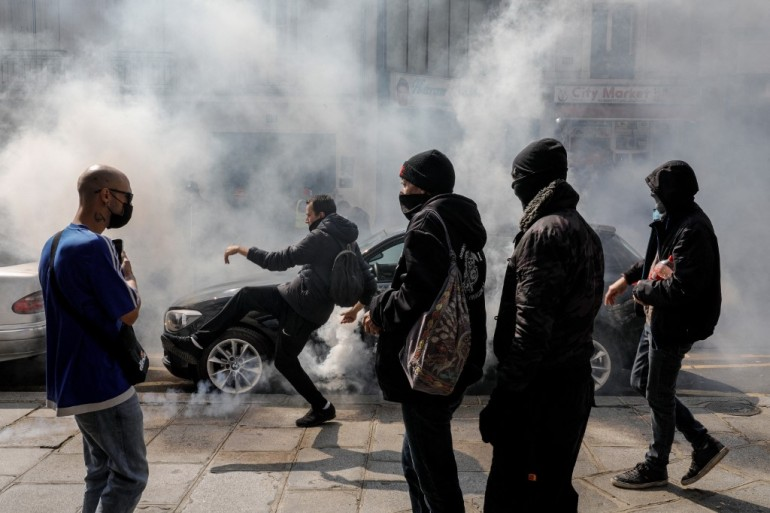 French authorities put the total number of protesters across the country at 19,000 [Geoffroy Van Der Hasselt/AFP]