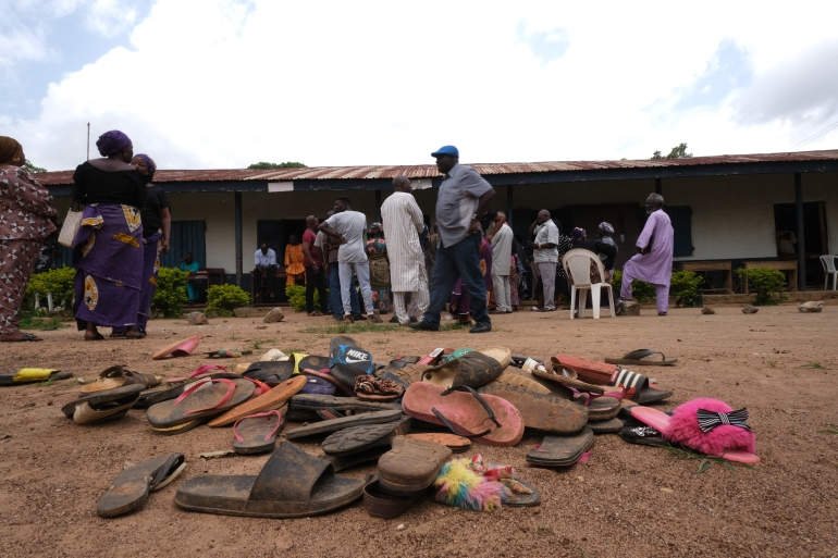 The remaining wares of students of Bethel Baptist High School are seen inside the school premises as parents of abducted students wait for the return of their children [File: Kola Sulaimon/AFP]