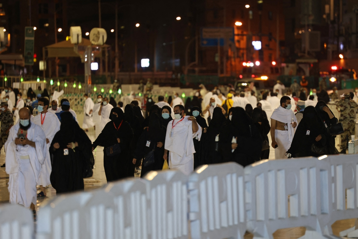 There are questions around whether the Hajj will be able to again draw such large numbers of faithful as in previous years, when male pilgrims formed a sea of white in white terrycloth garments worn to symbolise the equality of mankind before God. [Fayez Nureldine/AFP]
