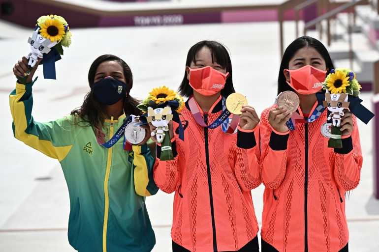 Nishiya shed tears of joy after nailing her final trick [Jeff Pachoud/AFP]