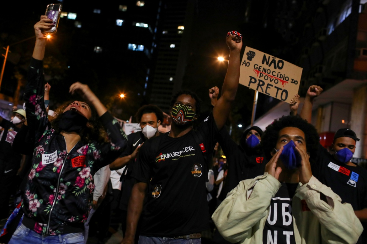 Luther said he lives in constant fear of police violence and makes a point of staying off the streets in certain neighbourhoods at night. 'Even if I were rich or very famous, I would still be living in a Black body in a city, a state, a country where Black people seem expendable,' he said. [Pilar Olivares/Reuters]