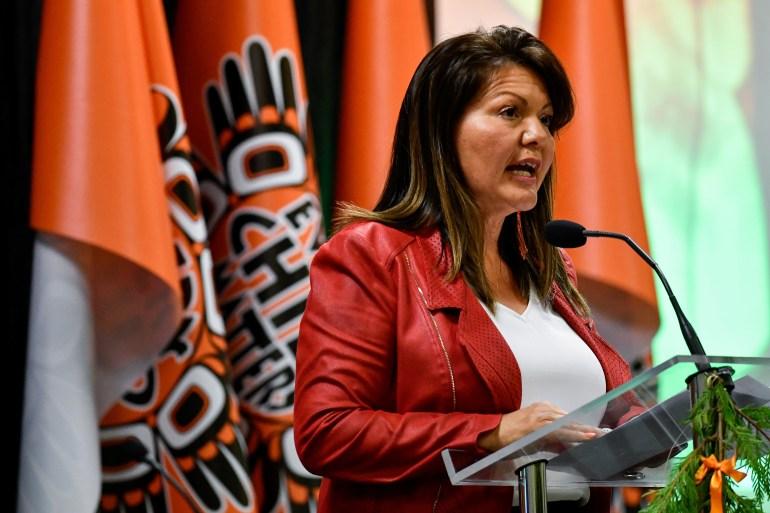 Tk'emlups te Secwepemc Chief Rosanne Casimir speaks ahead of the release of findings on 215 unmarked graves discovered at Kamloops Indian Residential School in Kamloops, British Columbia, Canada, July 15, 2021 [Jennifer Gauthier/Reuters]