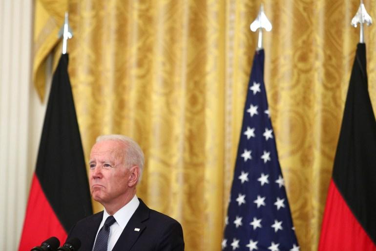 US-Präsident Biden bei Pressekonferenz mit Angela Merkel (nicht im Bild), Washington 15. Juli 2021 | Bildquelle: https://t1p.de/dmu0 © Tom Brenner/Reuters | Bilder sind in der Regel urheberrechtlich geschützt