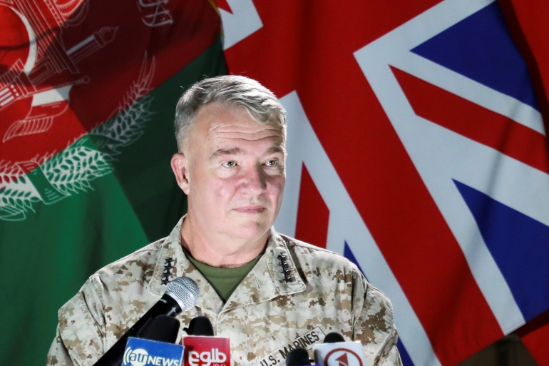 US Marine Corps General Kenneth McKenzie, commander of US Central Command, said the US has increased air strikes in support of Afghan forces over the last several days [Reuters]