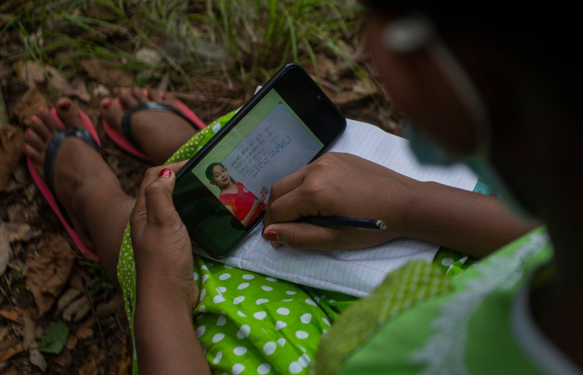 The digital divide fuelled by uneven internet access and high data costs has forced many students out of the formal education system in Sri Lanka. [Eranga Jayawardena/AP Photo]