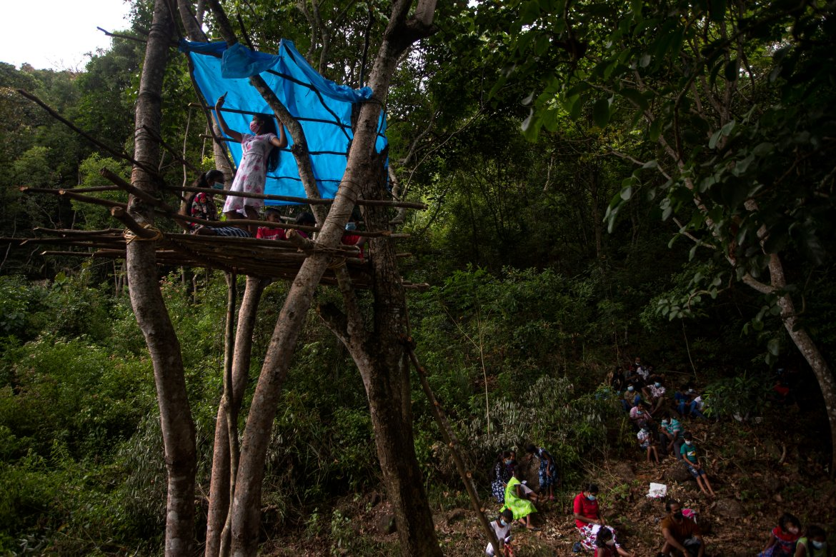 A Sri Lankan student attends her online classes from a tree house. Schools on the island have been closed for the most part since March 2020. [Eranga Jayawardena/AP Photo]