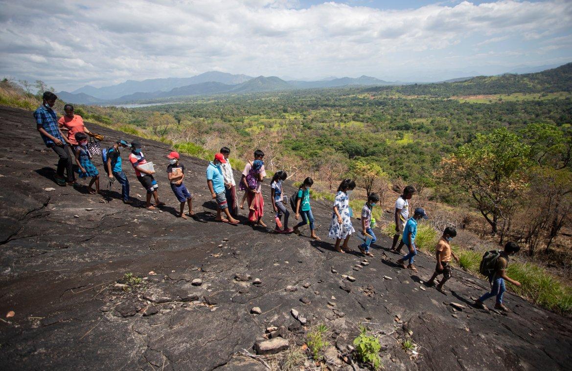 Sri Lankan children walk down a mountain after attending their online lessons in a forest reserve in Bohitiyawa village in Meegahakiwula. [Eranga Jayawardena/AP Photo]