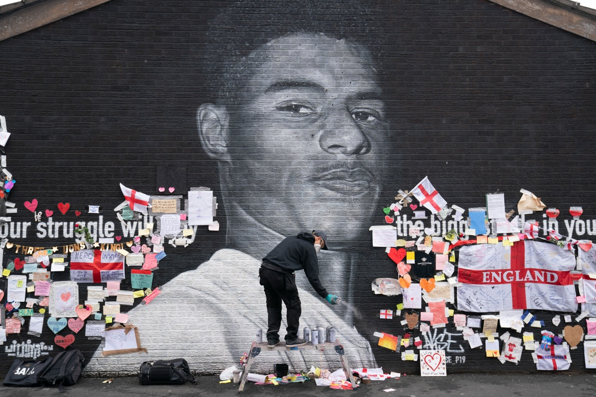 Mural of English Soccer Player Marcus Rashford Restored After It Was Defaced With Racist Graffiti
