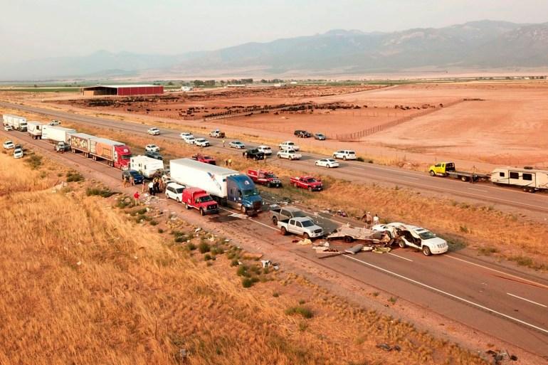 The scene of a fatal pileup, Sunday, July 25, 2021, on Interstate 15 in Millard County, near the town of Kanosh, Utah. [Utah Highway Patrol via AP]