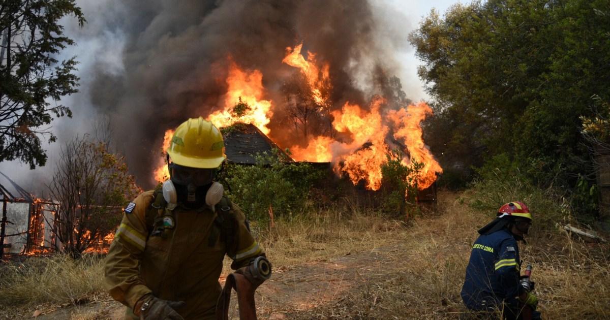 Dozen homes burn, five people hospitalised in Greece wildfire