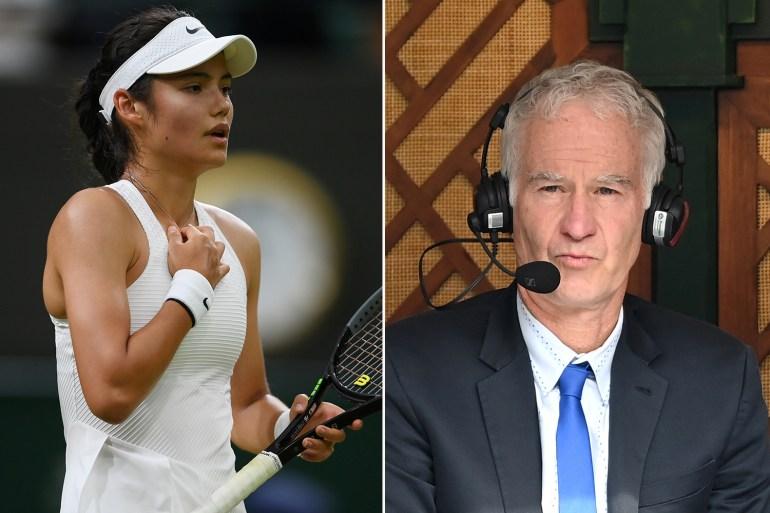 John McEnroe, kanan, menyarankan Emma Raducanu yang berusia 18 tahun, kiri, telah menarik diri dari pertandingan putaran keempat hari Senin karena dia tidak dapat menangani tekanan pada kesempatan itu Getty Images