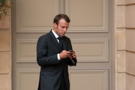 Macron's phone number was among about 50,000 believed to have been identified as people of interest since 2016 by clients of the Israeli firm NSO, a report says [File: Philippe Wojazer/EPA] (Reuters)