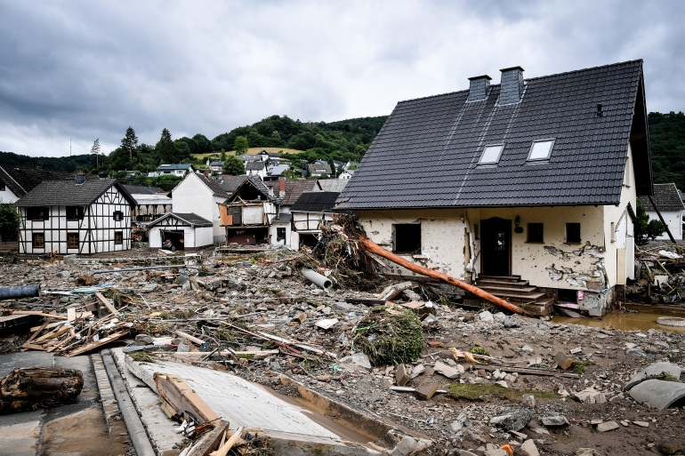 The village of Schuld in the district of Ahrweiler is destroyed after heavy flooding of the Ahr River, in Schuld, Germany [Sascha Steinbach/EPA]