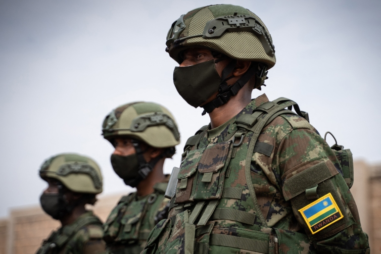 Rwanda sent in 1,000 soldiers last month to shore up Mozambican military forces who have been struggling to regain control over the northern Cabo Delgado province [Simon Wohlfahrt/AFP]