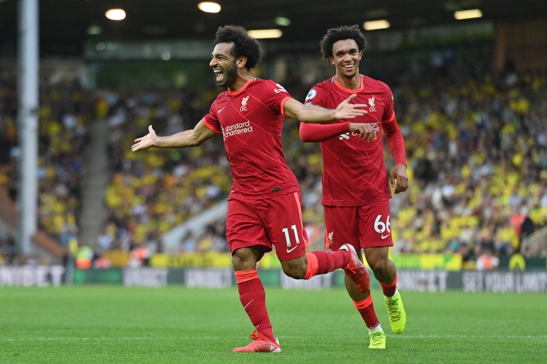 The Egyptian Football Association said on Monday Liverpool would not release Mohamed Salah, left, for the upcoming World Cup qualifiers against Angola and Gabon due to the quarantine rules [AFP]