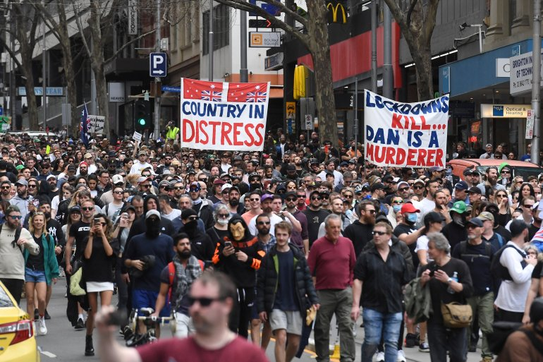 Sydney has been in lockdown for two months, while Melbourne and the capital, Canberra, went into lockdown in August [William West/AFP]