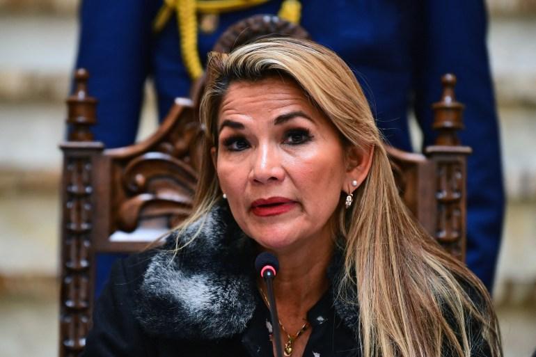 Bolivian interim President Jeanine Anez speaks during a news conference in La Paz [File: Ronaldo Schemidt/ AFP]