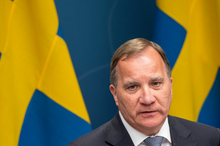 Lofven, 64, has served as party leader for almost 10 years and as prime minister since 2014 [Jonathan Nackstrand/AFP]