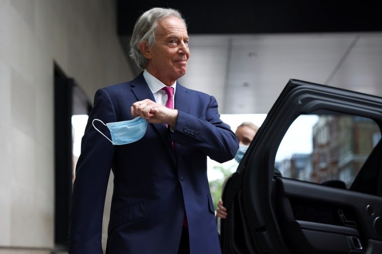 Former British PM Tony Blair leaves BBC Headquarters after appearing on the Andrew Marr Show, June 6 [Henry Nicholls/Reuters]
