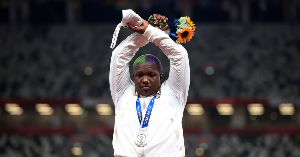 US shot putter Raven Saunders in first Olympic podium protest
