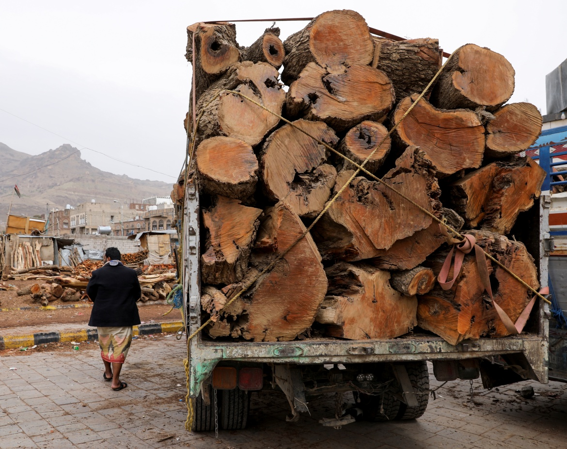 A man walks by a truck loaded with logs at a firewood market in Sanaa. [Khaled Abdullah/Reuters]