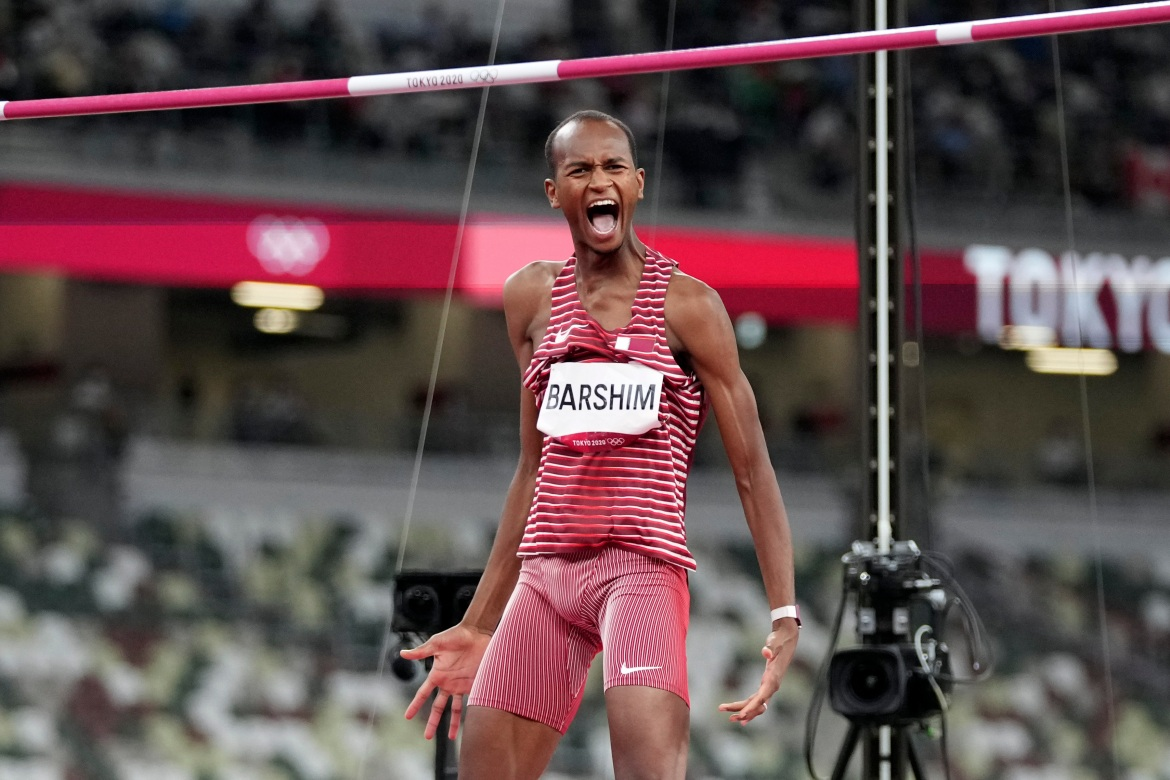 Barshim reacts during the final of the men's high jump. [Matthias Schrader/AP Photo]