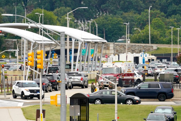 Rescue vehicles are seen at the United States Pentagon transit station on Tuesday after multiple gunshots were fired [Andrew Harnik/AP Photo]