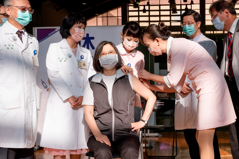 President of Taiwan Got Her First Jab of First Domestic Covid Vaccine: School Megamart 2021